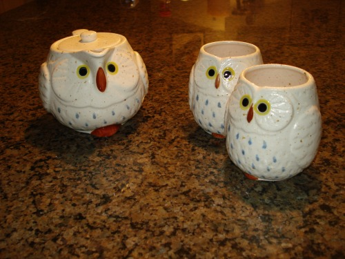 Owl tea set; my favorite wedding gift.