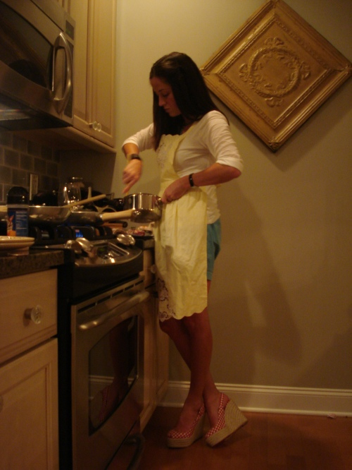 Cooking in Granny Marge's apron & Christian Louboutins.
