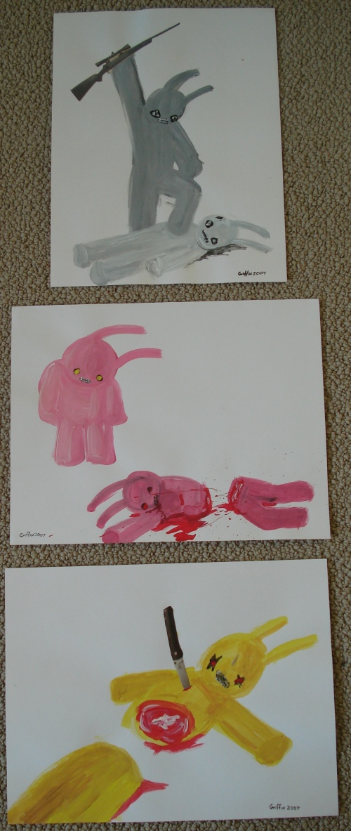 From my art collection, series of 3 Death Bunnies paintings by Griffin.