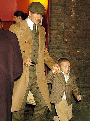 I'm bringing Anglo back: Brit David Beckham and son looking dapper.