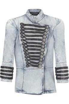 Balmain denim military style jacket, $5075.