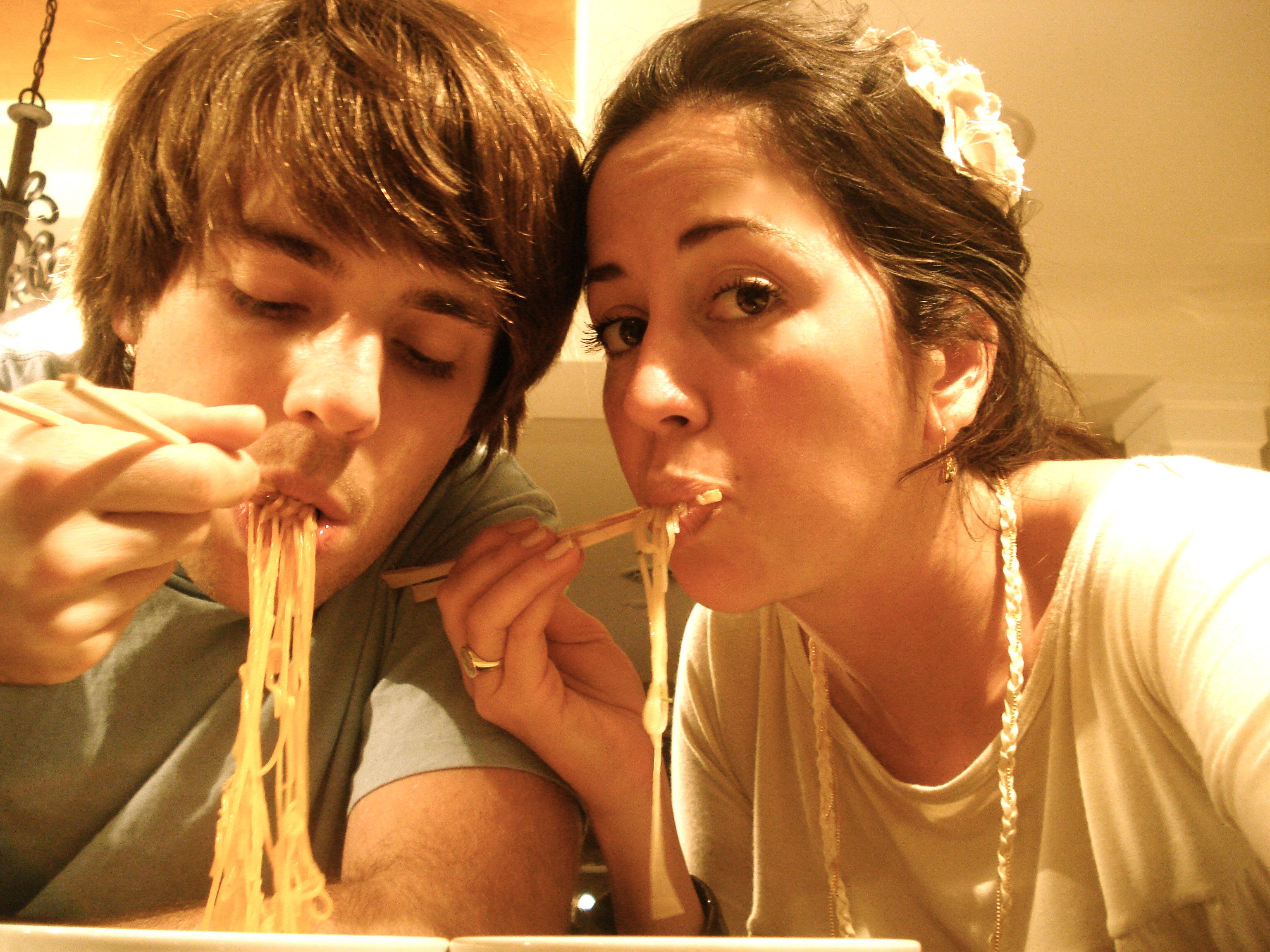 Enjoying our most favorite noodle treats.