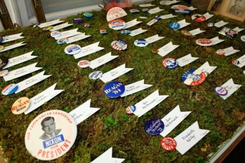 Vintage election buttons at Rob's and my antique/Americana-themed reception... some were really rare!