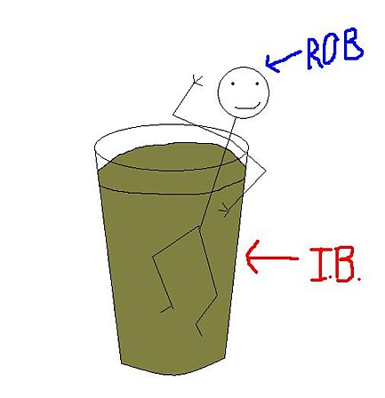 Rob in a glass of IB. Which used to be his favorite thing in the world.