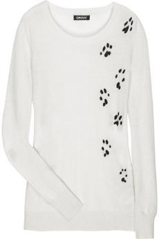 DKNY paw print cashmere sweater, $295.